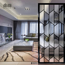 Modern simple living room screen room bedroom partition wall fashion two-sided art primer Xuan Guan Glass simple lattice