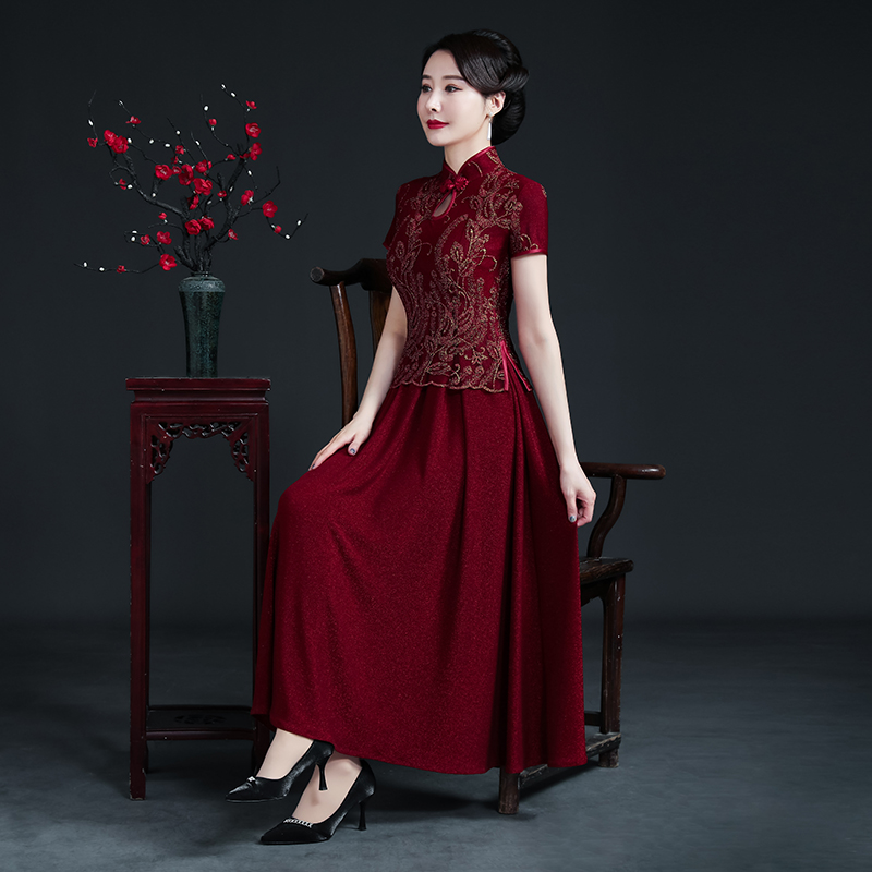 2021 models wedding happy mother-in-law improved cheongsam dress wedding banquet dress red evening dress spring and summer noble