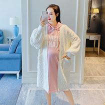 Pregnant women coat spring fashion red mesh knitted cardigan sweater large size pregnant maternity dress spring tops