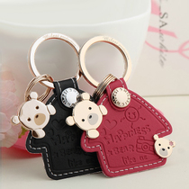 Millers couple key chain car pendant cartoon key ring ring cowhide key chain cute bear creative
