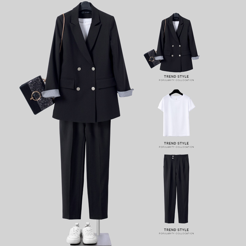 Casual blazer Female spring and autumn Korean version loose British style black professional suit suit female small blouse