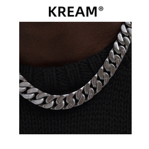 KREAM original double-sided brushed cuban necklace male hip-hop female short same paragraph cuban link clavicle chain