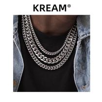 KREAM silver hip hop Cuban chain necklace European and American trend wild cuban high quality titanium steel men and women plain chain