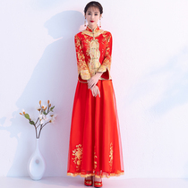 Cheongsam toast Bride 2018 new style long sleeve xiu wo clothes chinese dress wedding gown Costume Hijab Clothing