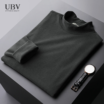 Winter and autumn jacket semi-high-necked double-sided velvet light business trim inside a warm-up shirt mens long-sleeved T-shirt