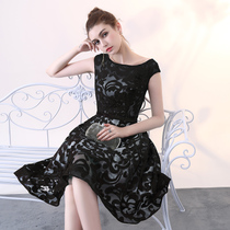 Black party thin party one word shoulder evening dress