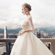 A word shoulder Korean version of the Princess Show thin trailing spring and autumn wedding dress