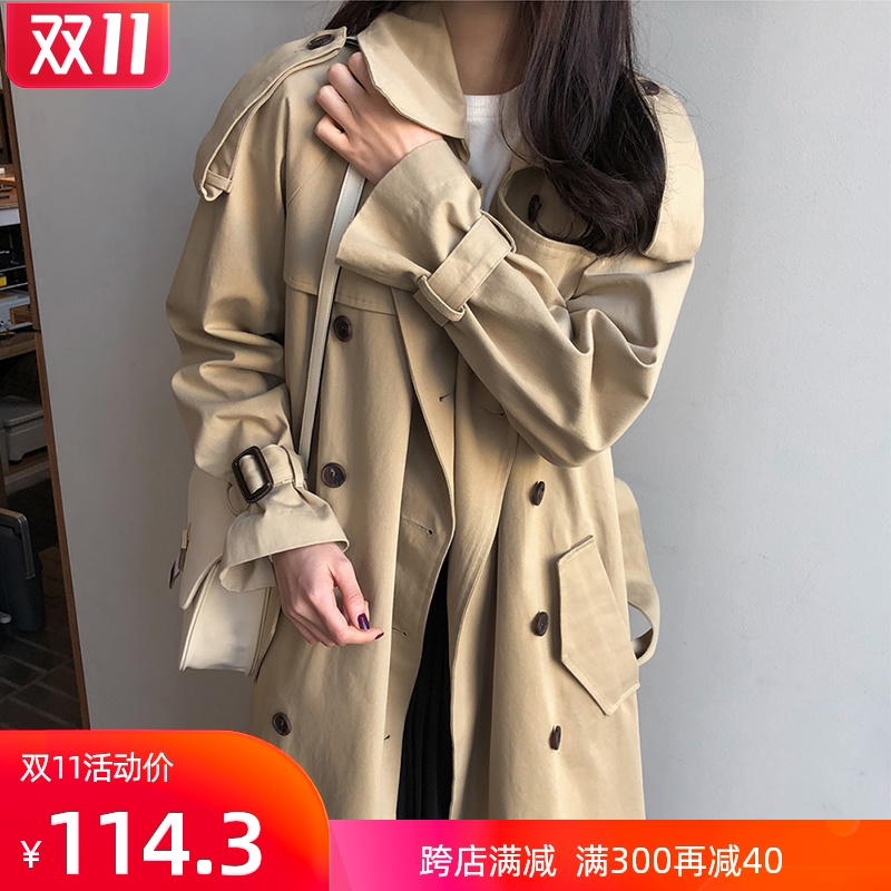 Windcoat womens middle-length version of the Korean version of the spring and autumn coat student coat 2020 Hepburn new ins loose size over the knee