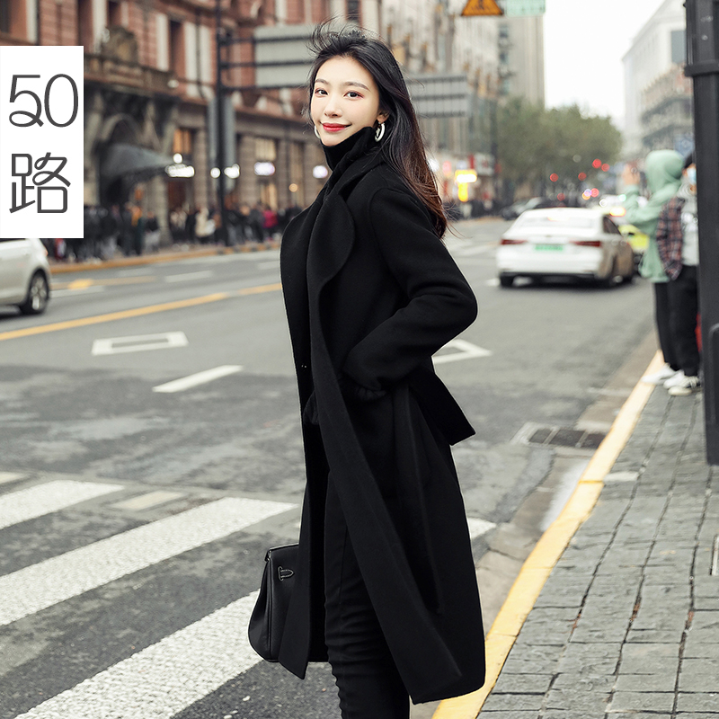 Black double-sided cashmere coat female medium-length version of the 2020 new autumn winter high-end wool Hepburn wind wool coat