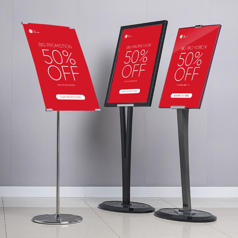 Billboard stand vertical floor-to-ceiling v-shaped kt board display sign pop poster rack shopping mall promotional shelf