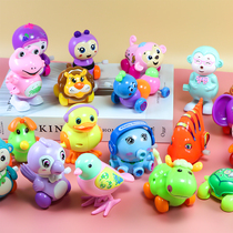 Childrens Clockwork toys Baby Octopus Plastic frog Chick 0 a 1 year old baby on the chain car Animal jumping