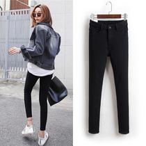 Noir taille haute stretch serré printemps et automne version coréenne crayon slim Jeans Pantalons