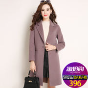 2017 new winter coat female double wool coat. Slim in the long wool coat of Korean women