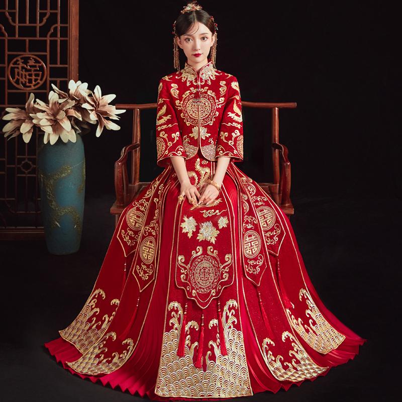 Xiuhe clothing bride 2021 new Chinese wedding slim large size wedding dress toast dress dragon and phoenix gown female Xiuhe