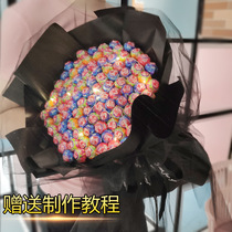 Lollipop bouquet diy material hand-crafted packaged strawberry snack basketball flower creative net red birthday gift