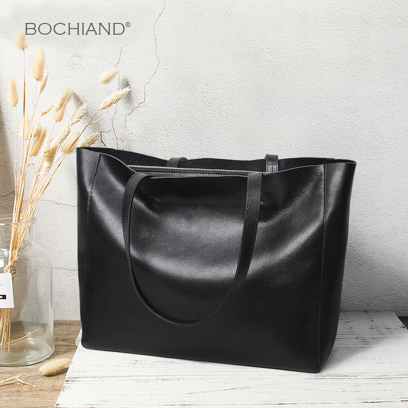 Baggage Girls Summer 2019 New Single Shoulder Handbag True Leather Girls Bag Simple Cowhide Large Capacity Tote Bag