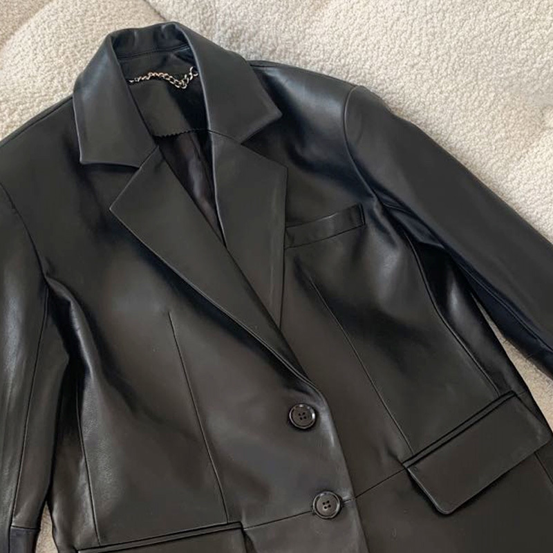 High-end European 2021 spring new Henning sheepskin leather leather clothing in the long version of the Korean version of the jacket suit jacket woman