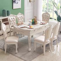 Европейский обеденный стол сочетание складной выдвижной обеденный стол из массива дерева мрамор пасторальный французский круглый размер семейный обеденный стол