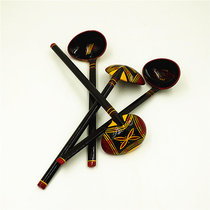 Sichuan Liangshan ethnic minority characteristic crafts Zhaojue Yi Lacquerware Horse spoon (composite material)