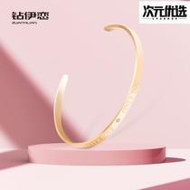Diamond Yi love plated 18K rose gold bracelet female opening bracelet simple personality couple cold wind niche design