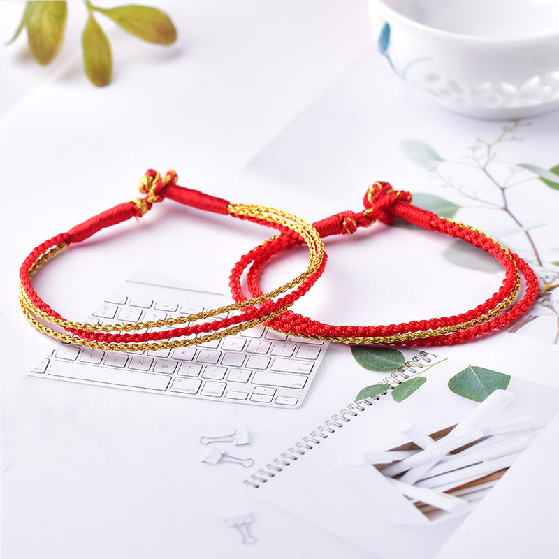 Mika hand-woven red rope eight strands of rope Sansheng III hand rope male and female couple bracelets this year to give gifts