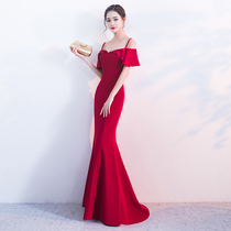 Red one word shoulder tail fish sexy thin toast dress
