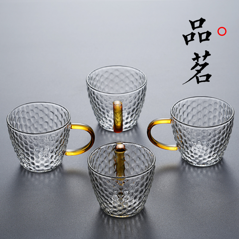 High temperature-resistant glass small teacup with hammer pattern small kung fu cup home personality small cup master cup