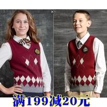 Eaton Ji de genuine school uniform boy girl knitted vest student cotton vest medium large Dongqiu sweater