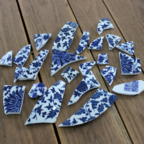Green and blue porcelain fragment glaze red porcelain piece jewelry porcelain sheet thickness of about 6mm can be handmade 29 yuan a pound