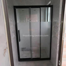 Three times door dry and wet separation partition shower room three folding shower screen bathroom partition glass door two live a solid