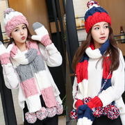 Winter female Korean tide wool hat scarf glove three suit one plus velvet thick warm birthday gift