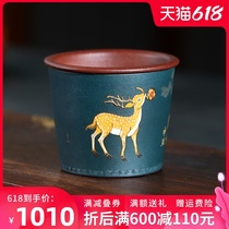 Yixing purple-sand clay painted sika deer host cup single cup Kung Fu tea cup sample tea cup cup to cup set