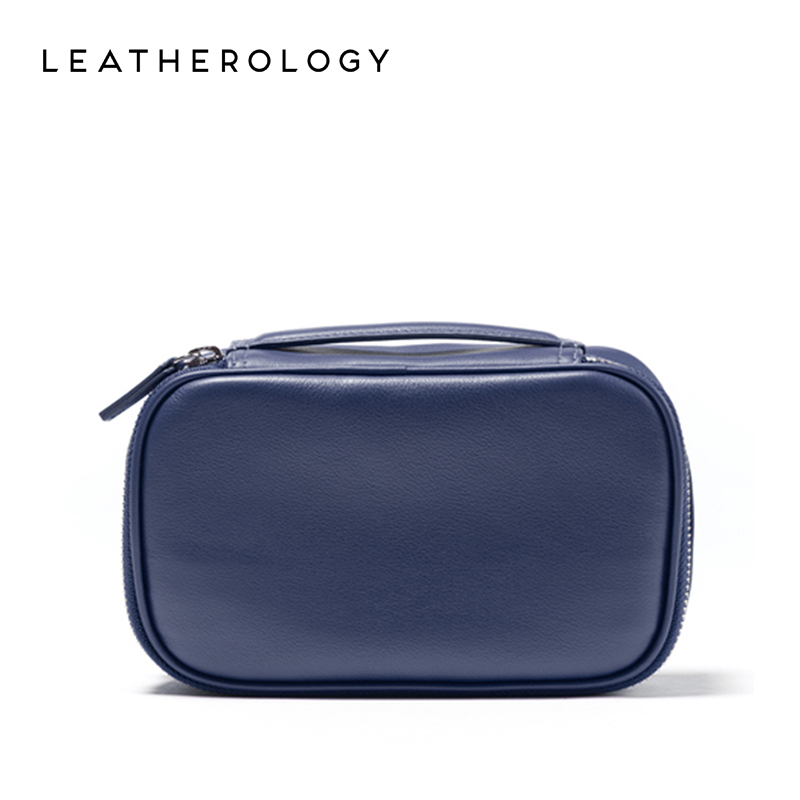Leatherology leather wash bag travel cosmetic bag wire storage bag business portable clutch bag trumpet