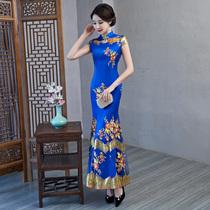 Vintage modified lengthened slim fishtail blue lace cheongsam