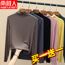 Modal half high collar base shirt Women autumn and winter 2021 new spring and autumn interior long sleeve foreign style black thin top