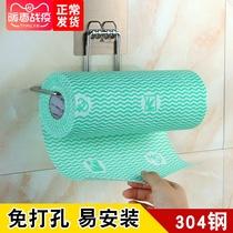 Cuisine Porte-serviettes en papier avec papier rack en acier inoxydable poinçon-livraison mural rouleau serviette en papier absorbant lhuile papier rack de stockage rack