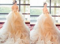 Long tail word shoulder princess was thin pregnant women Korean wedding dress