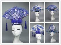 Chinese wind blue and green Porcelain series Creative headwear catwalk model competition exaggerated headwear makeup styling headwear Hair Accessories