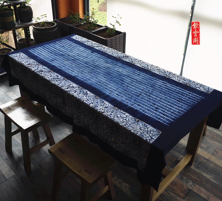 Yunnan za-dyed tablecloth big tea tablecloth cotton hand-dyed idyllic wall hanging decoration Dali travel companion gift