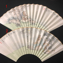Boutique 9 inch 9.5 inch 18 square hand-painted Sugong fan front figure 18 Rohantu reverse calligraphy Chinese wind