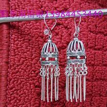 Guizhou Guizhou Southeast Guizhou Phoenix Ancient City ethnic wind earrings tassel hanging spike Miao silver filigree lantern drop earrings crafts