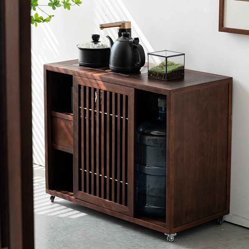 New Chinese black walnut solid wood tea cabinet teaside cabinet automatically boiling water modern simple living room tea room storage cabinet