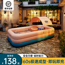 Childrens self-inflatable swimming pool barrel Newborn baby baby child folding household large indoor outdoor pool