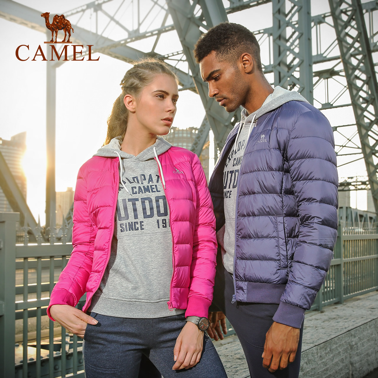 [2017 new products] camel sports down jacket couple models lightweight classic simple warm collar down jacket
