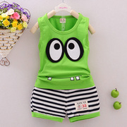 2017 New Kids Summer Boys male baby infant cotton vest suit 0-1-2-3-4 suit
