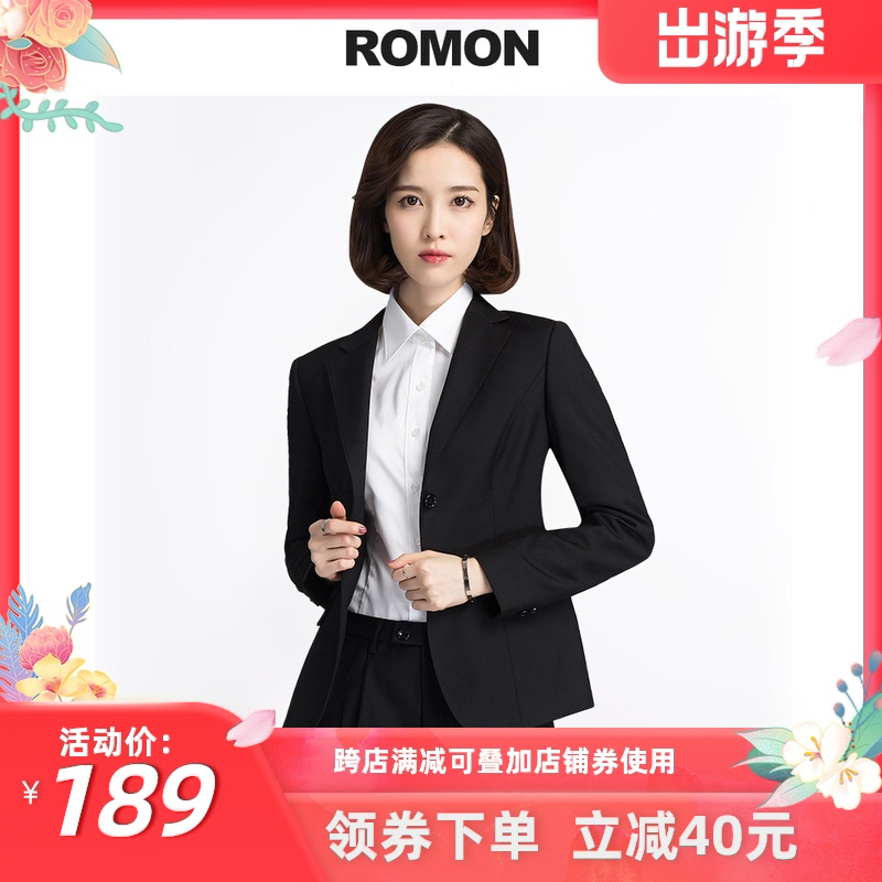Romon 2021 Womens suit suit Formal casual professional wear Spring and autumn work Black small blazer