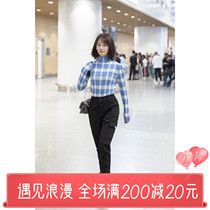 Hi sister France maje 19 blue Yingying star with blue plaid turtleneck slim sweater bottoming sweater