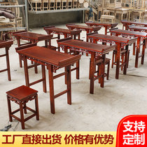 Double primary school calligraphy table solid wood table kindergarten article case calligraphy table training antique desk stool
