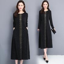 Осень 2019 новый плюс размер женщин микро-толстая сестра мм благородный темперамент платье с животиком под юбкой