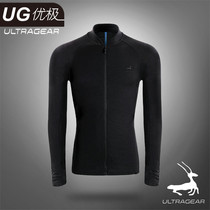 Excellent UG men merino wool long-sleeved cardigan autumn and winter running warm layer cross-country running top quick dry clothes
